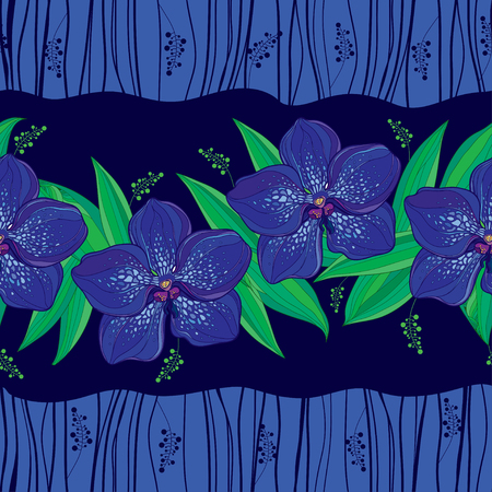 Seamless pattern with blue vanda orchid flower and leaves.