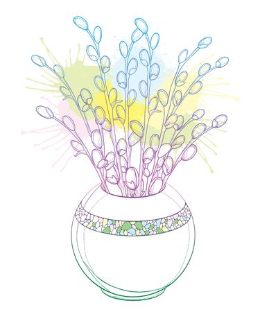 Branche avec saule en fleurs en forme de contour pour un design printanier. Vecteurs
