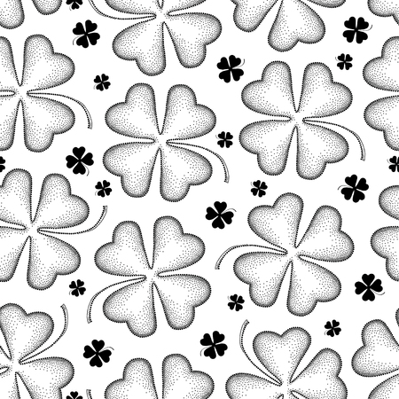 Seamless pattern with clover or shamrock in black.