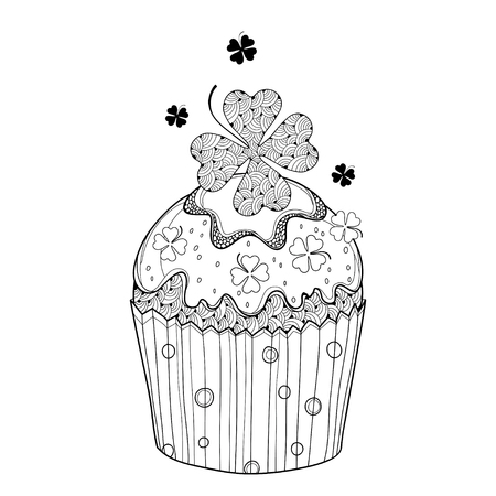 Cupcake with ornate lucky clover isolated on white background. Illustration