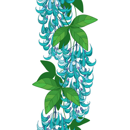 Seamless pattern with jade vine turquoise flower. 矢量图片