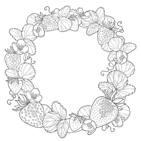 Wreath with Strawberry, berry and leaf in black isolated.