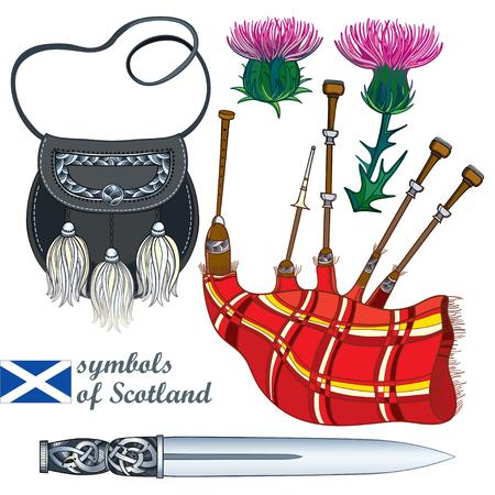 Set of Scottish symbol: dagger, bagpipe, sporran, thistle. 일러스트