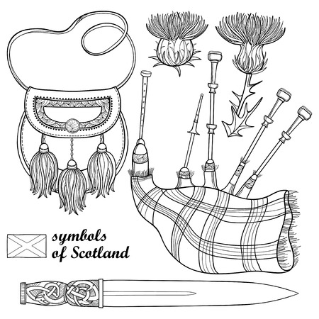 Set of Scottish symbols dagger, bagpipe, sporran, thistle.