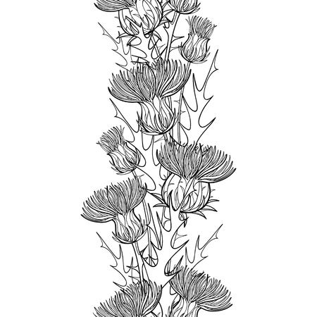 Seamless pattern with black Thistle or Carduus plant. Ilustrace