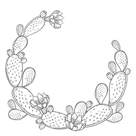 Runder Rahmen aus Opuntia oder Feigenkaktus isoliert.