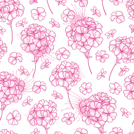 Seamless pattern with outline pastel pink Geranium.