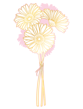 Bouquet of gold and pink gerbera isolated.