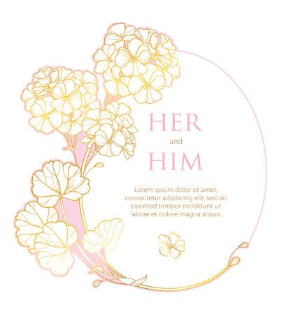 Wedding invitation with gold Geranium or Cranesbills.