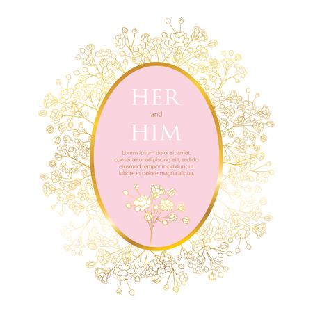 Hochzeitseinladung mit Schleierkraut oder Schleierkraut Blume. Vektorgrafik