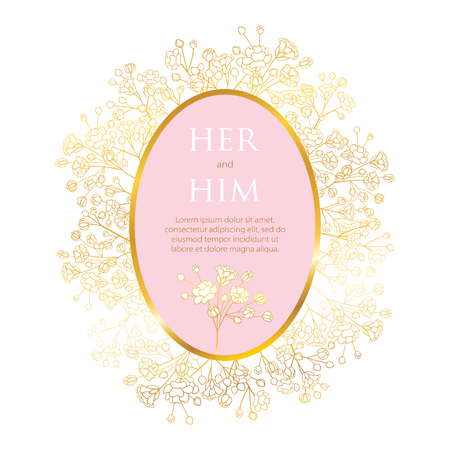 Wedding invitation with Gypsophila or Baby's breath flower. Ilustracje wektorowe