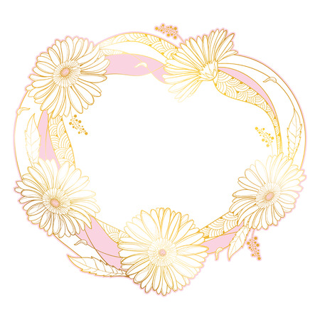 Round wreath with outline Gerbera flower isolated.