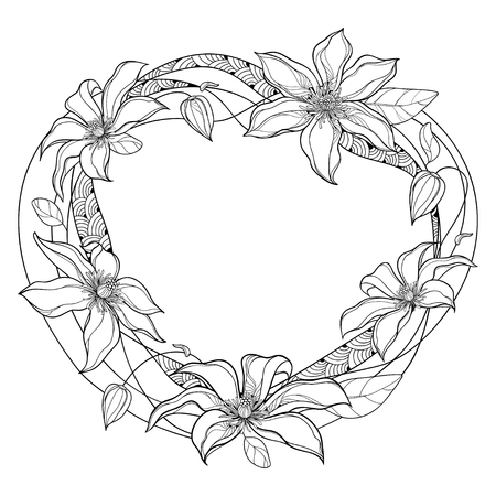 Round frame with Clematis flower and leaf isolated.