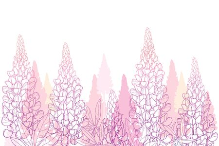 Field of pink flower bunch and leaves isolated. Ilustrace