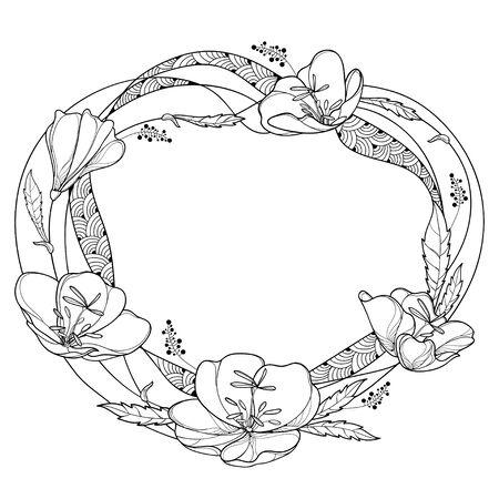 Round wreath of Oenothera or evening primrose.