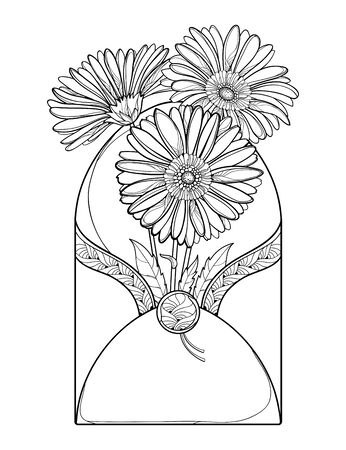 Bouquet of outline Gerbera in envelope isolated. Illustration