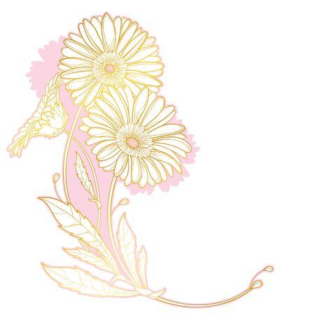 Corner bouquet of outline gold Gerbera flower.
