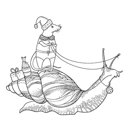 Outline cute rat and African land snail isolated. 일러스트