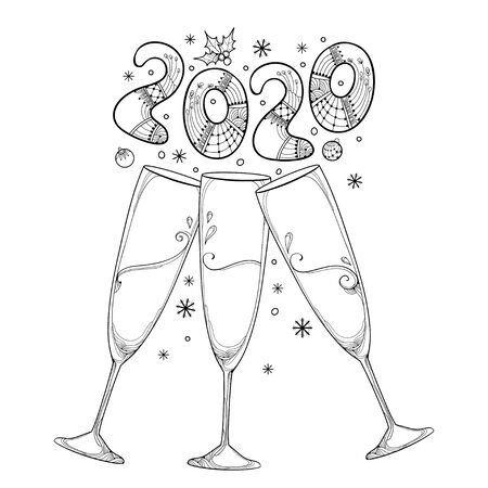 Three toasting champagne glasses with 2020 isolated. Stock Illustratie