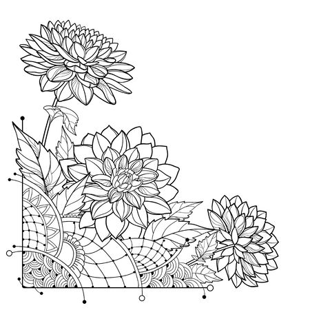 Corner bouquet with outline Dahlia flower isolated. Иллюстрация