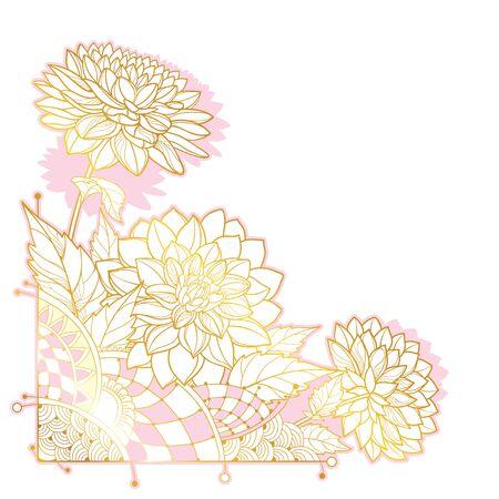 Corner bouquet with outline golden Dahlia flower.
