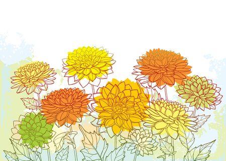 Autumn bouquet with outline Dahlia flower.
