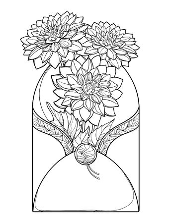 Bouquet with outline Dahlia flower in envelope isolated.