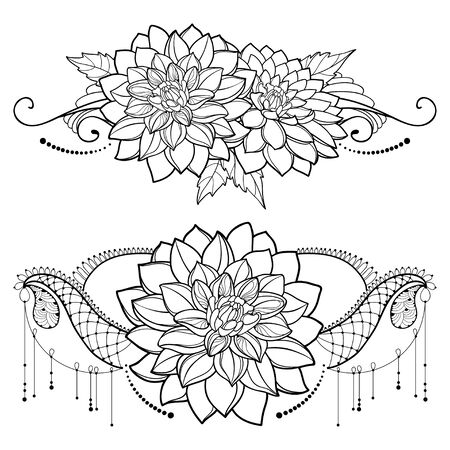 Bunch with outline Dahlia flower and swirls isolated.