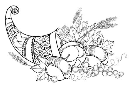Outline Cornucopia or Horn of plenty in black isolated. Ilustrace