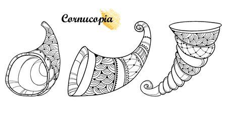 Set of empty Cornucopia or Horn of plenty isolated. Foto de archivo - 138253140
