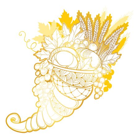 Gold Cornucopia or Horn of plenty isolated. Foto de archivo - 138253143