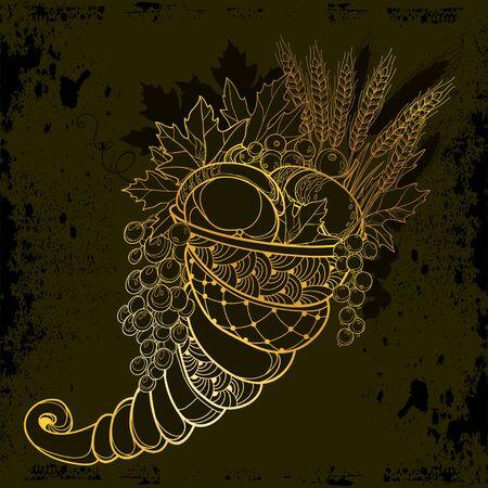 Gold Cornucopia or Horn of plenty. Vectores