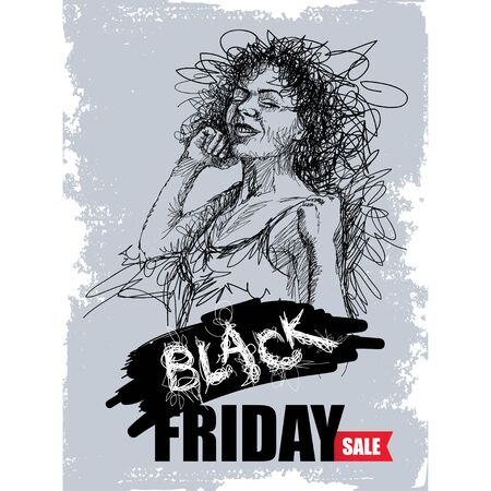 Scribble girl with Black Friday sale text on gray background.