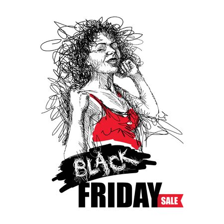 Scribble girl with Black Friday sale text in red isolated.