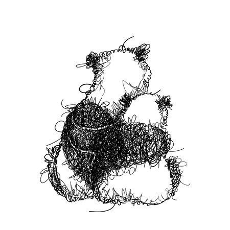 Chaos scribble panda couple in love in black isolated. Иллюстрация