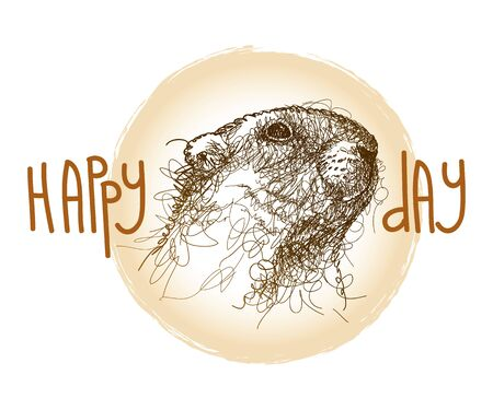 Groundhog day card with scribble groundhog or marmot. Иллюстрация