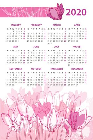 Wall calendar for 2020 year with bouquet of Cyclamen.