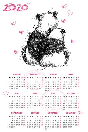 Wall calendar for 2020 year with chaos scribble panda. Иллюстрация
