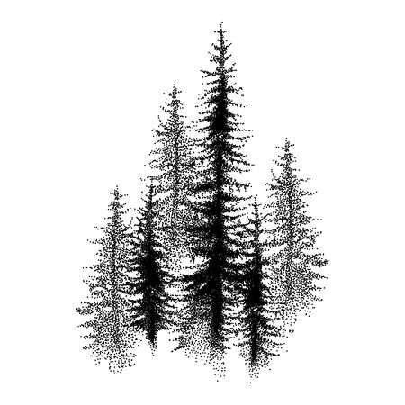 Dotted or dotwork coniferous forest in black isolated.