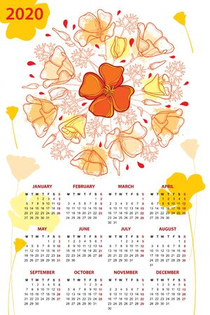 Wall calendar for 2020 year with outline California poppy. Illustration
