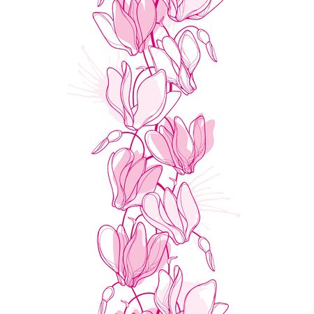 Vertical seamless pattern with outline pink Cyclamen. Ilustracja