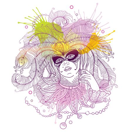 Mardi Gras carnival girl in mask and peacock feather isolated.