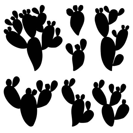 Set of Opuntia or prickly pear cactus silhouettes isolated.