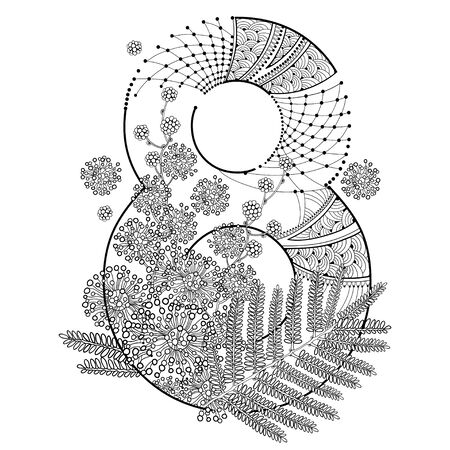Outline Mimosa flower, leaf and number 8 isolated.