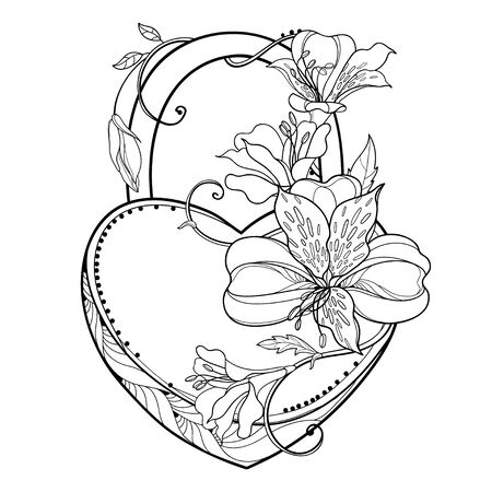 Outline Alstroemeria or Peruvian lily and padlock heart isolated.