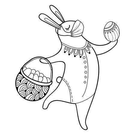 Outline Easter rabbit with egg in protect medical mask isolated. Vector Illustration