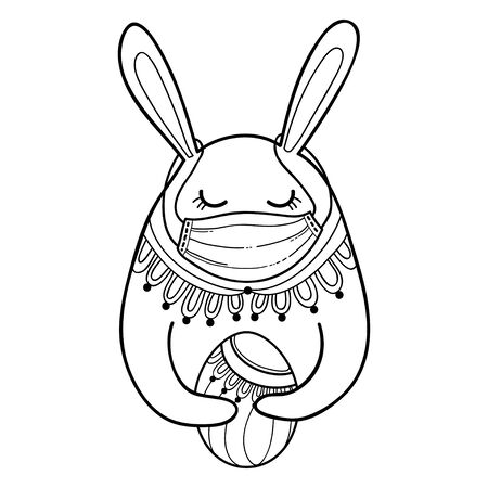 Outline Easter rabbit with egg in protect medical mask isolated.