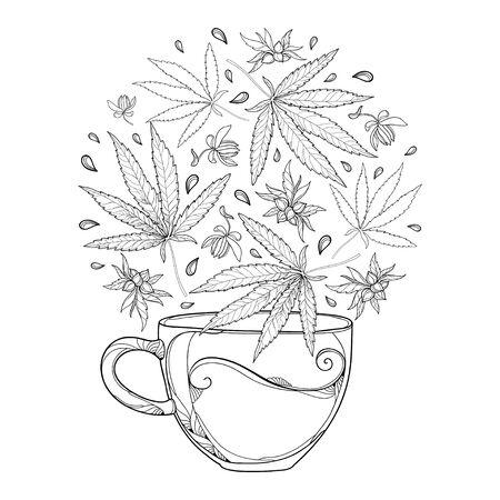 Outline cup of herbal tea with Cannabis or Marijuana leaf isolated. 向量圖像