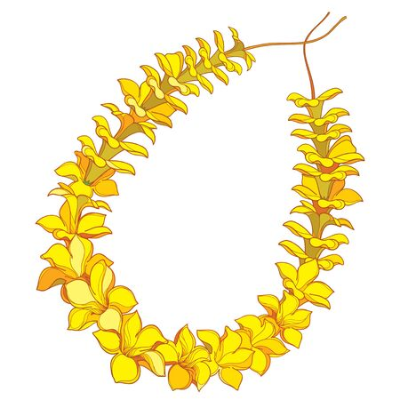 Outline yellow Hawaiian lei necklace from tropical flower isolated. 向量圖像