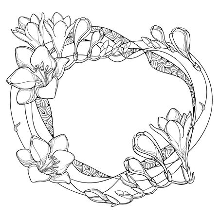 Frame with outline Freesia flower and bud in black isolated.